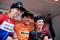 Top three in the GC: Christine Majerus (LUX), Lorena Wiebes (NED) and Lisa Klein (GER) at Boels Ladies Tour 2019 - Stage 5, a 154.8 km road race from Nijmegen to Arnhem, Netherlands on September 8, 2019. Photo by Sean Robinson/velofocus.com