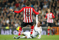 22.01.2012, Santiago Bernabeu Stadion, Madrid, ESP, Primera Division, Real Madrid vs Athletic Bilbao, 1. Spieltag, Nachtrag, im Bild Real Madrid's Sergio Ramos and Athletic de Bilbao's Ander Iturraspe// during the football match of spanish 'primera divison' league, 1th round, supplement, between Real Madrid and Athletic Bilbao at Santiago Bernabeu stadium, Madrid, Spain on 2012/01/22. EXPA Pictures © 2012, PhotoCredit: EXPA/ Alterphotos/ Cesar Cebolla..***** ATTENTION - OUT OF ESP and SUI *****