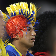 A fan watching the Ecuador Vs El Salvador friendly international football match at Red Bull Arena, Harrison, New Jersey. USA. 14th October 2014. Photo Tim Clayton