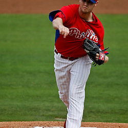 Feb 26, 2013; Clearwater, FL, USA; Philadelphia Phillies starting pitcher Kyle Kendrick (38) throws against the New York Yankees during the top of the first inning of a spring training game at Bright House Field. Mandatory Credit: Derick E. Hingle-USA TODAY Sports