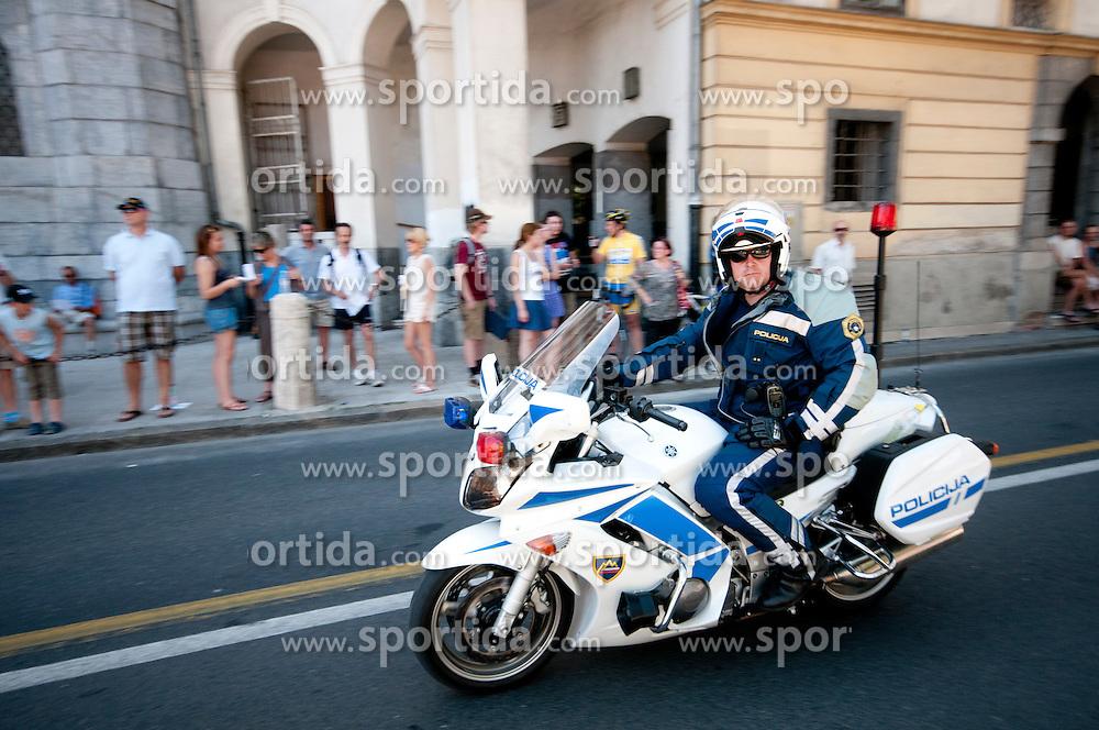Policeman during chronometer (17,8km) of Tour de Slovenie 2012, on June 17 2012, in Ljubljana, Slovenia. (Photo by Urban Urbanc / Sportida.com)