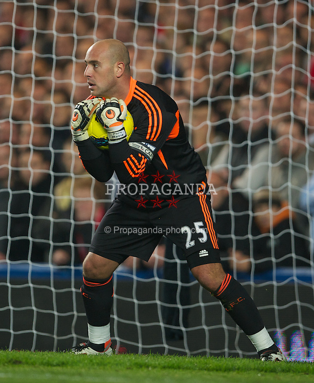 LONDON, ENGLAND - Sunday, November 20, 2011: Liverpool's goalkeeper Jose Reina in action against Chelsea during the Premiership match at Stamford Bridge. (Pic by David Rawcliffe/Propaganda)