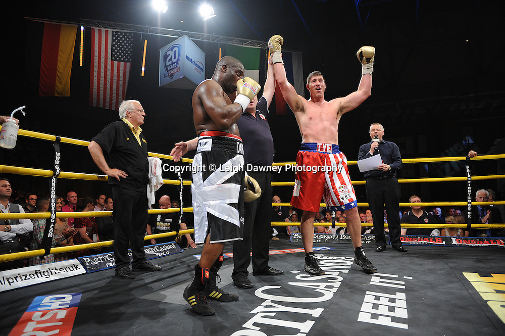 Tye Fields celebrates defeating Michael Sprott in Quarter Final 3 at Prizefighter International on Saturday 7th May 2011. Prizefighter / Matchroom. Photo credit © Leigh Dawney. Alexandra Palace, London.