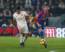 February 27, 2019 - London, England, United Kingdom - L-R Manchester United's Alexis Sanchez and Crystal Palace's Joel Ward.during English Premier League between Crystal Palace and Manchester  United at Selhurst Park stadium , London, England on 27 Feb 2019. (Credit Image: © Action Foto Sport/NurPhoto via ZUMA Press)