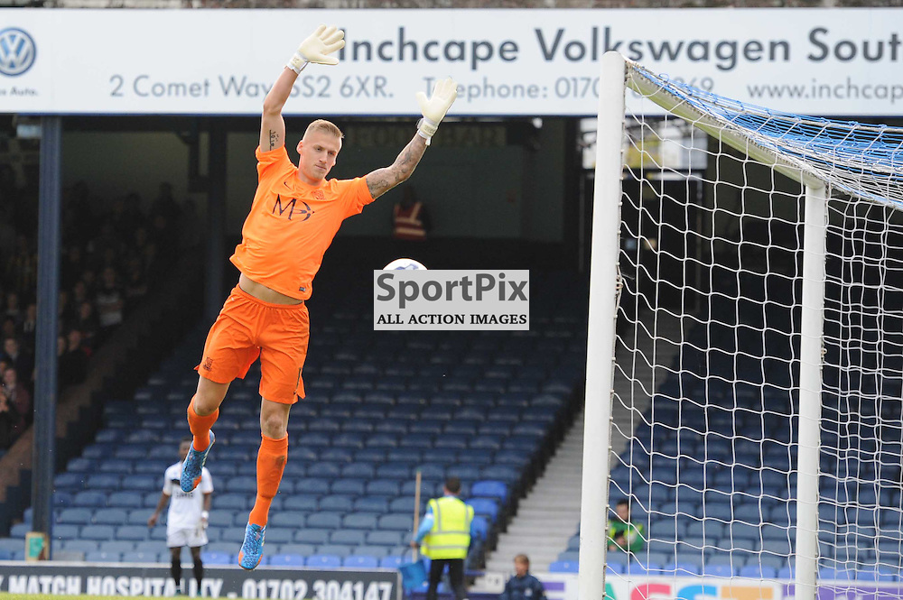 Southends Dan Bentley in action during the Southend v Port Vale game in Sky Bet League 1 on the 10th October 2015