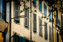 Typical French shuttered windows on a property in the Place Carnot in the town of Carcassonne, France<br /> <br /> (c) Andrew Wilson | Edinburgh Elite media