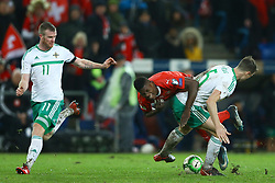 November 12, 2017 - Basel, Switzerland - FIFA World Cup Qualifiers play-off Switzerland v Northern Ireland.A foul by Jonny Evans of Northern Ireland on Breel Embolo of Switzerland at St. Jakob-Park in Basel, Switzerland on November 12, 2017. (Credit Image: © Matteo Ciambelli/NurPhoto via ZUMA Press)