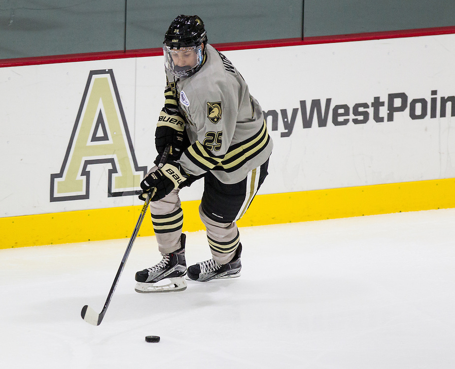 Army Defenseman Nash Worden (25) during the first period of a NCAA Hockey game between Army and Boston College at Tate Rink on October 9, 2015 in West Point, New York. (Dustin Satloff)