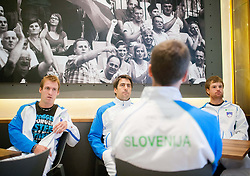 Grega Zemlja, Ziga, Janskovec and Blaz Kavcic of Slovenia during press conference of Davis cup Slovenia vs South Africa competition on September 10, 2013 in Hisa sports, Ljubljana, Slovenia. (Photo by Vid Ponikvar / Sportida.com)