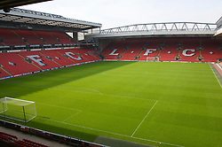 The view of the Anfield pitch from the Anfield Road Upper Stand, centre of Block 223.