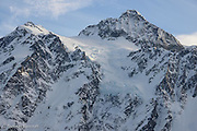 Mt Shuksan peak was dappled in soft light that helped to highlight the hanging glacier near its peak.