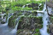 Natural waterfalls and cascades photographed at Plitvice Lakes National Park, Croatia