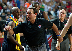 Head coach of USA Mike Krzyzewski during the finals basketball match between National teams of Turkey and USA at 2010 FIBA World Championships on September 12, 2010 at the Sinan Erdem Dome in Istanbul, Turkey.  USA defeated Turkey 81 - 64 and became World Champion 2010. (Photo By Vid Ponikvar / Sportida.com)