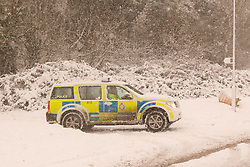Ministry of Defence Police patrol the perimeter their site in Corsham as heavy overnight snow causes disruption in rural Wiltshire, Corsham, UK, January 18 2013. Photo by Mark Chappell / i-Images.