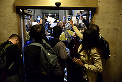 The west entrance of 30th Street Station is temporary blocked as protesters, bicycle patrol officers and commuters hold up near the doors during an anti-Trump protest in Center City Philadelphia, Pennsylvania.