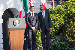 October 18, 2016 - Washington, DC, United States - On the South Lawn  of the White House in Washington, D.C., U.S., on Tuesday, Oct. 18, 2016., (l-r), Italian Prime Minister Matteo Renzi, and President Barack Obama, chat and share a laugh during the ceremony at the Official State Visit. This was the last Official State Visit for the Obama administration. (Credit Image: © Cheriss May/NurPhoto via ZUMA Press)