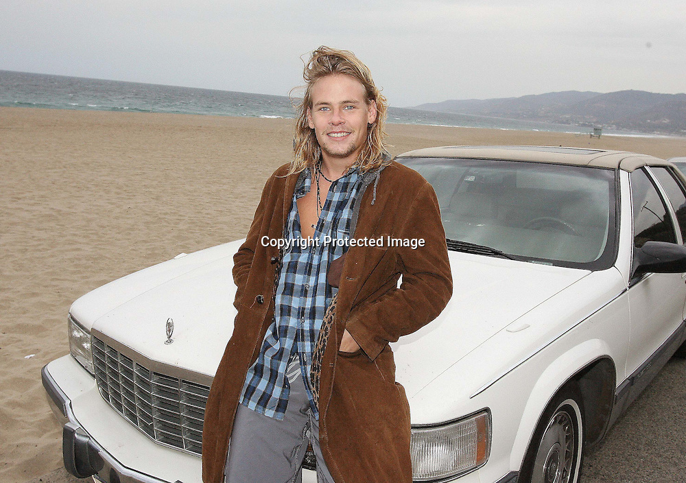 BRAWLEY NOLTE SITTING ON HIS 1980'S CADILLIAC AT WESTWARD BEACH MALIBU CALIFORNIA.8.12.08.PIX STEVE BUTLER EXCLUSIVE