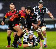Hanno Dirksen of Ospreys under pressure from JT Jackson of Southern Kings<br /> <br /> Photographer Simon King/Replay Images<br /> <br /> Guinness PRO14 Round 6 - Ospreys v Southern Kings - Saturday 9th November 2019 - Liberty Stadium - Swansea<br /> <br /> World Copyright © Replay Images . All rights reserved. info@replayimages.co.uk - http://replayimages.co.uk