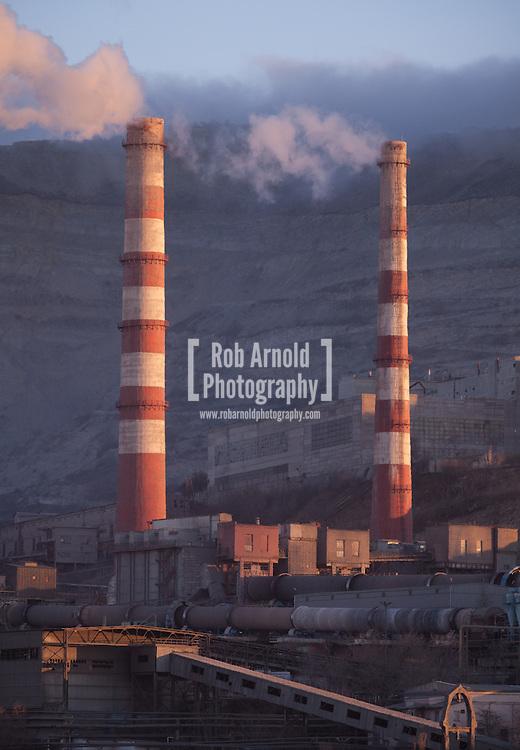 Industrial scene. Chimneys in the Russian Black Sea port of Novorossiysk