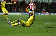 Leeds United striker Mirco Antenucci with a penalty shout during the Sky Bet Championship match between Brentford and Leeds United at Griffin Park, London, England on 26 January 2016. Photo by Matthew Redman.