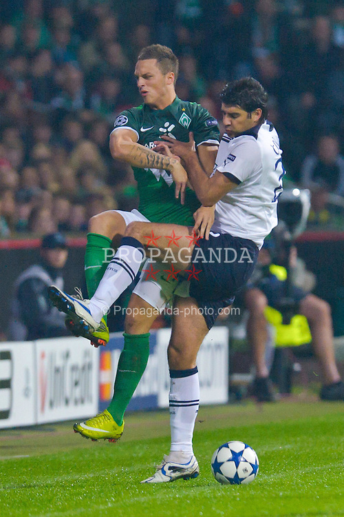 14.09.2010, Weserstadion, Bremen, GER, UEFA CL Gruppe A, Werder Bremen (GER) vs Tottenham Hotspur (UK), im Bild  Marko Arnautovic (Werder #07 ) Vedran Corluka (Tottenham #22)  EXPA Pictures © 2010, PhotoCredit: EXPA/ nph/  Kokenge+++++ ATTENTION - OUT OF GER +++++