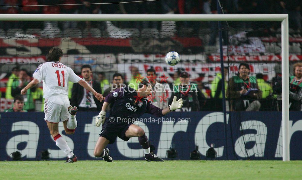 ISTANBUL, TURKEY - WEDNESDAY, MAY 25th, 2005: Liverpool's Jerzy Dudek is beaten by AC Milan's Hernan Crespo for the third goal during the UEFA Champions League Final at the Ataturk Olympic Stadium, Istanbul. (Pic by David Rawcliffe/Propaganda)