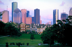 Stock photo of a park along the edges of downtown Houston