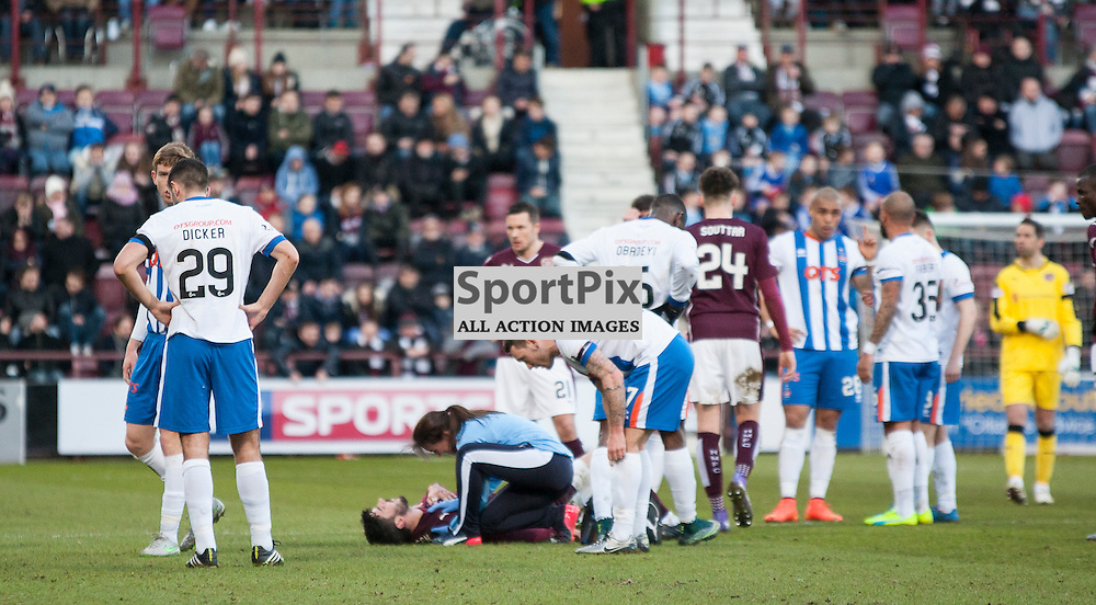 Hearts v Kilmarnock, Scottish Premiership, 27 February 2016, Callum Paterson (Hearts, 2) injures his shoulder during the Hearts v Kilmarnock Scottish Premiership match played at Tynecastle Stadium, © Chris Johnston | SportPix.org.uk