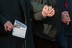"© Licensed to London News Pictures. 03/02/2017. London, UK. Participants forming a human circle of solidarity hold hands outside Wightman Road mosque in north London during Friday prayers in an event backed by a coalition of faith groups, including members of Reform Judaism, the Christian Muslim Forum and Faiths Forum for London.  The aim is to ""stand with our Muslim brothers and sisters at this time of international turbulence"", say the organisers. Photo credit : Stephen Chung/LNP"