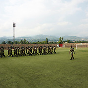Burundian Army during a rehearse for Independence Day celebrations at Burundi's National Stadium in Bujumbura.