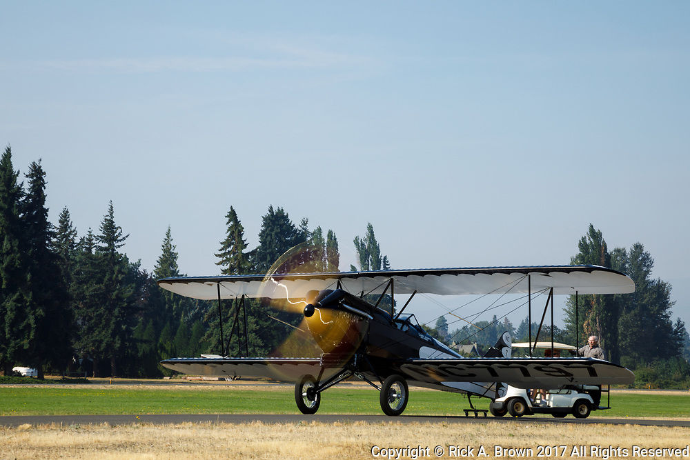 Taxiing the Swallow at the 2017 Hood River Fly-In.