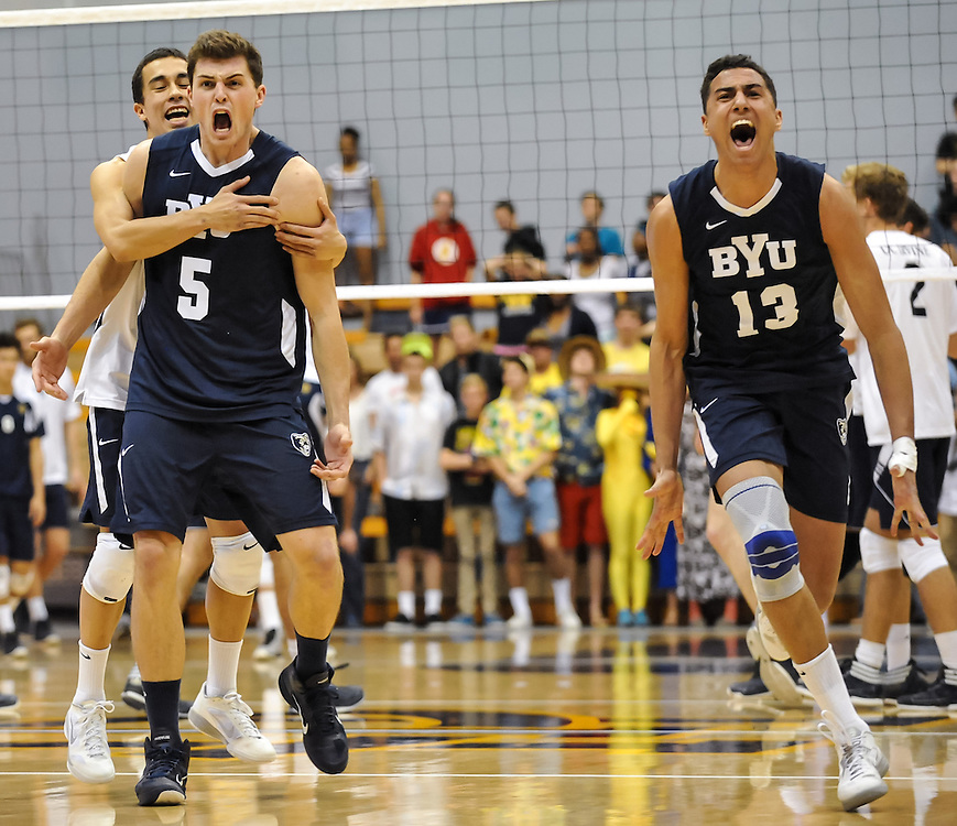 3/1/2013 --- SPORTS SHOOTER ACADEMY 10 --- IRVINE, CA: BYU's  Russ Lavaja (5) and Ben Patch (13) celebrate after overcoming a 2-0 lead by U.C. Irvine in Friday nights game at U.C. Irvine.  BYU won the match 3-2 in 5 sets.  Photo by Bryan Lynn, Sports Shooter Academy
