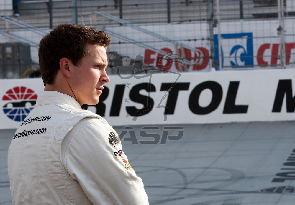 BRISTOL, TN - MAR 19, 2011: Trevor Bayne (16) prepares to take to the track for the Scotts EZ Seed 300 qualifying session at the Bristol Motor Speedway in Bristol, TN.