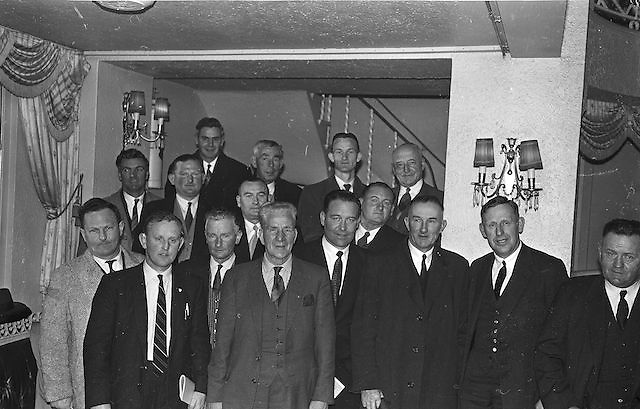 Picture shows members of the Cork  County GAA Board at the Congress. Included are A M Murphy, Chairman; E Colter, Vice-Chairman; Jim  Barry, Registrar; Con Murphy, Secretary; D Gowan, Treasurer; Sean McCarthy, Former  President of the GAA; P O'Driscoll; D Maher; Sean Barrett; P Flynn; O Barry; T Lynch, Chairman Mid-Cork Board, etc...Annual Congress, GAA, Gresham Hotel, Easter Sunday. 14.4.1963.  14th April 1963