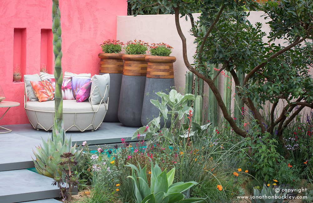 Beneath a Mexican Sky Garden<br /> RHS Chelsea Flower Show 2017<br /> Design: Manoj Malde<br /> Built by: Living Landscapes<br /> Sponsored by: Inland Homes PLC<br /> Photography &copy; Copyright Jonathan Buckley