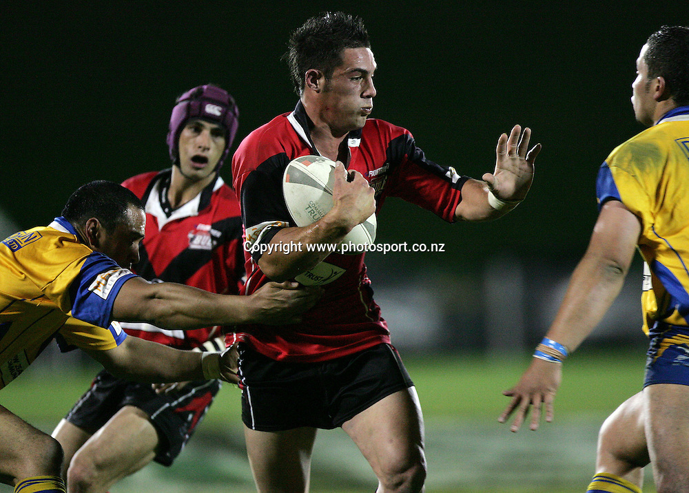 Daniel Metcalf in action during the Bartercard Cup Final rugby league match between the Mt. Albert Lions and the Canterbury Bulls at Mt. Smart Stadium, Auckland, New Zealand on Monday 18 September, 2006. Photo: Hannah Johnston/PHOTOSPORT<br /><br /><br /><br />180906