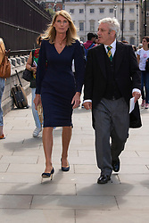 © Licensed to London News Pictures. 10/09/2019. London, UK. Speaker of the House of Commons John Bercow (r) and his wife Sally Bercow (l) return to The Houses of Parliament after attending a Service of Thanksgiving for Lord Ashdown at Westminster Abbey .  Photo credit: George Cracknell Wright/LNP