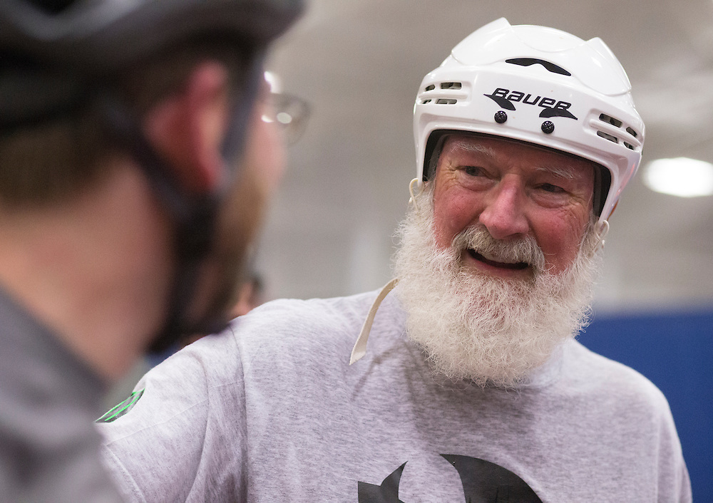 """Dick """"Merby Dick"""" Roche joins his teammates on the Lane County Concussion for practice at the Willamalane Center for Sports and Recreation, in Springfield, Ore., on Tuesday, October 28, 2014. Roche is 74, could be the oldest man competing in derby."""