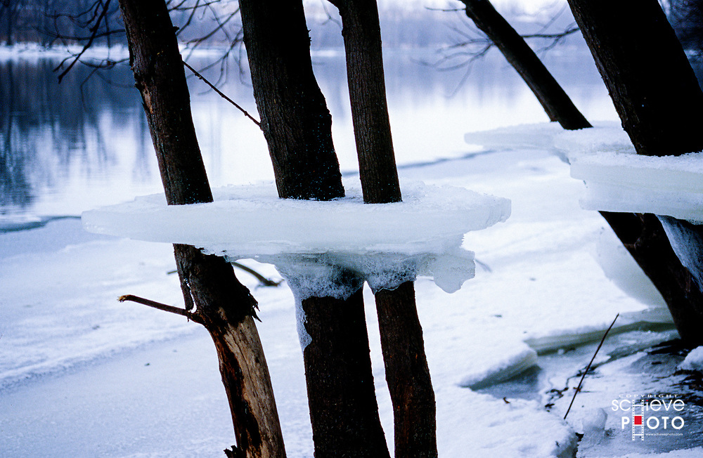 Ice shelves near the Rock River in Rock County Wisconsin.