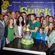 NLD/Amsterdam/20120919- Perspresentatie musical Shrek, cast, Vajen van den Bosch, William Spaaij, Kim Lian van der Meij en Rogier Komproe