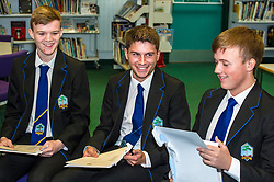 Pictured: Alistair Hamptn, Lewis Britain and Kyle Rowan are pleased their hard work has paid off.<br /> <br /> Education Secretary  John Swinney visited Firrhill School today and met students and parents as the results wer available for opening.<br /> <br /> <br /> Ger Harley | EEm 7 August 2018