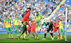 Cardiff City's Kenwyne Jones comes close to scoring a header. - Photo mandatory by-line: Alex James/JMP - Mobile: 07966 386802 30/08/2014 - SPORT - FOOTBALL - Cardiff - Cardiff City stadium - Cardiff City  v Norwich City - Barclays Premier League