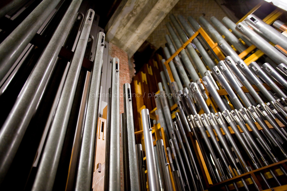 25 November, 2008. New York, NY. Douglas Hunt, 53, curator of organs for the cathedral of St. John the Divine, is here in south pipe room of the organ. There are about 8500 pipes in the cathedral. The organ at the Cathedral of St. John the Divine, heavily damaged in a fire in 2001, has been rebuilt. The organ has been tuned for the last couple of weeks.  &copy;2008 Gianni Cipriano for The New York Times<br /> cell. +1 646 465 2168 (USA)<br /> cell. +1 328 567 7923 (Italy)<br /> gianni@giannicipriano.com<br /> www.giannicipriano.com