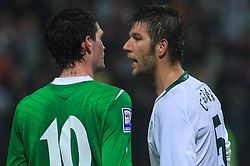 Kyle Lafferty and Bostjan Cesar (5) at the fourth round qualification game of 2010 FIFA WORLD CUP SOUTH AFRICA in Group 3 between Slovenia and Northern Ireland at Stadion Ljudski vrt, on October 11, 2008, in Maribor, Slovenia.  (Photo by Vid Ponikvar / Sportal Images)