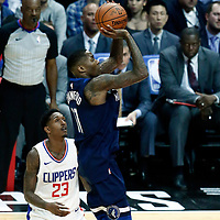 06 December 2017: Minnesota Timberwolves guard Jamal Crawford (11) takes a jump shot during the Minnesota Timberwolves 113-107 victory over the LA Clippers, at the Staples Center, Los Angeles, California, USA.