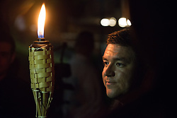 August 11, 2017 - Charlottesville, Virginia, U.S. - Rally organizer and white nationalist JASON KESSLER. Young men hold up torches during Neo Nazis, Alt-Right, and White Supremacists rally a the night before the 'Unite the Right' rally in Charlottesville white supremacists march with tiki torchs through the University of Virginia campus. (Credit Image: © Zach D Roberts/NurPhoto via ZUMA Press)