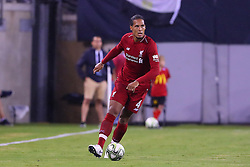 July 25, 2018 - East Rutherford, NJ, U.S. - EAST RUTHERFORD, NJ - JULY 25:  Liverpool defender Virgil van Dijk (4) during the second half of the International Champions Cup Soccer game between Liverpool and Manchester City on July 25, 2018 at Met Life Stadium in East Rutherford, NJ.  (Photo by Rich Graessle/Icon Sportswire) (Credit Image: © Rich Graessle/Icon SMI via ZUMA Press)