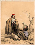 Epidemic Typhus or Gaol Fever, caused by the organism Rickettsia prowazeki, is spread by lice.  Here a peasant woman in the Spanish Pyrenees is removing lice, the vector for the disease, from her child's head as the family takes a rest on their journey. Tinted lithograph from 'Nouvelles Suite de Costumes des Pyrenees' (Paris, c1840).
