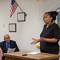 GHA resident Latoya Elleby thanks the U.S. Department of Housing and Urban Development for awarding the GHA with the funds to test and reduce lead hazards in their units at Thursday mornings event.