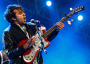 Justin Young of The Vaccines performs live on the Big Top stage during day two of the Isle of Wight Festival 2011 at Seaclose Park on June 11, 2011 in Newport, Isle of Wight.  (Photo by Simone Joyner)